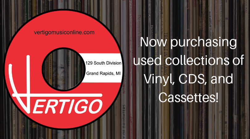 Vertigo Music. Now purchasing used collections of Vinyl, CDS, Cassettes